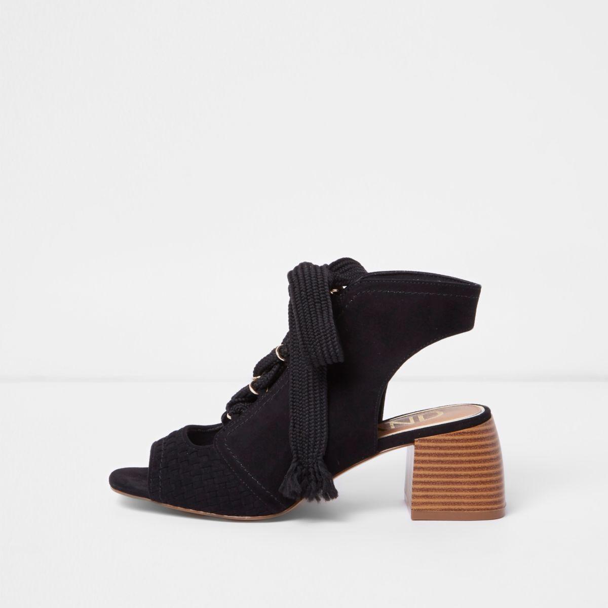Black peep toe lace-up block heel shoe boots