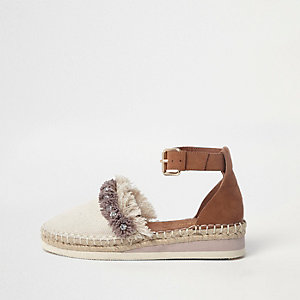 Cream canvas fringe diamante espadrilles