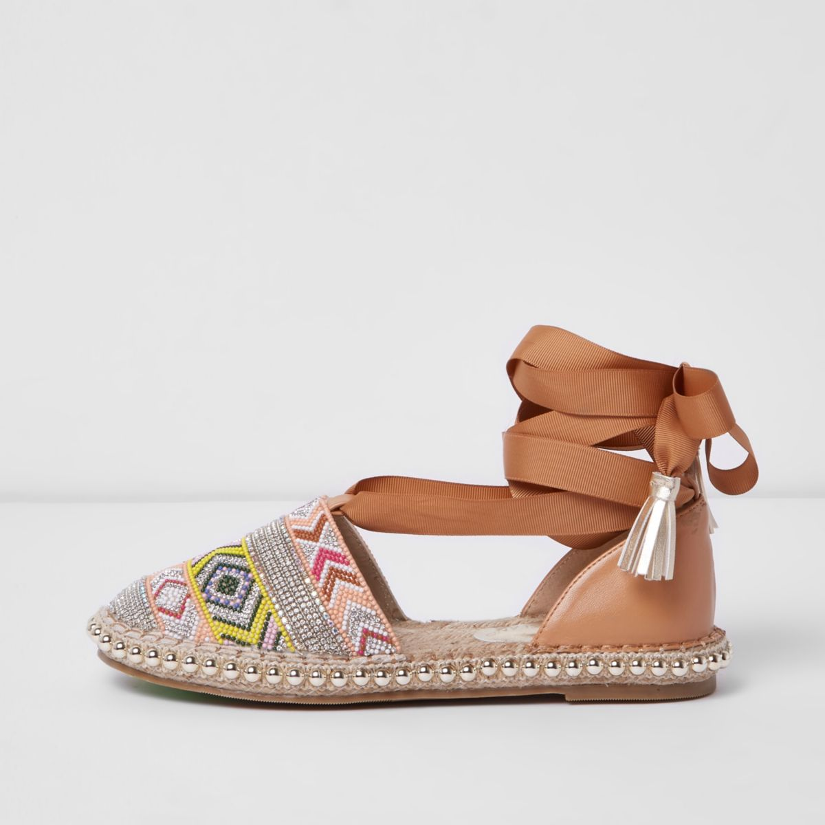 Brown aztec beaded ankle wrap espadrilles