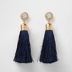 Navy tassel diamante drop earrings