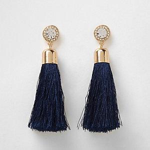 Navy tassel diamante drop earrings