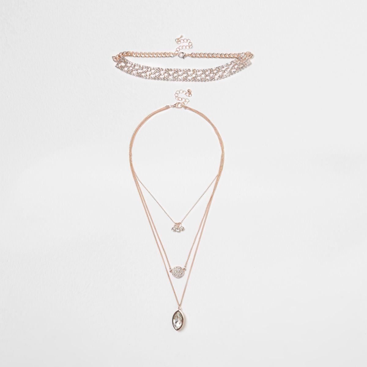 Rose gold tone diamante pave necklace set