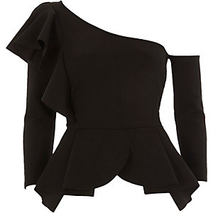 Black one shoulder peplum hem top