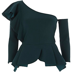 Dark green one shoulder peplum hem top