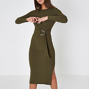 Khaki green rib ring tie belt midi dress