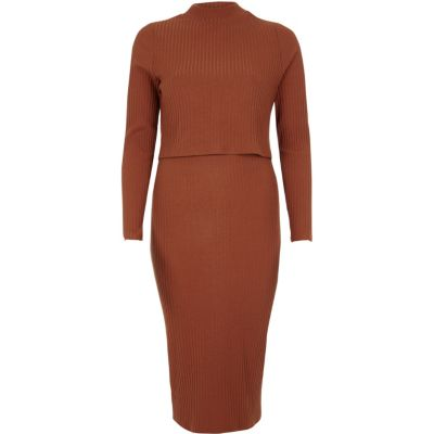 River Island Orange rib double layer bodycon midi dress