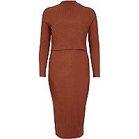 Orange rib double layer bodycon midi dress