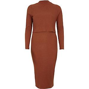 Robe moulante mi-longue côtelée orange à double épaisseur