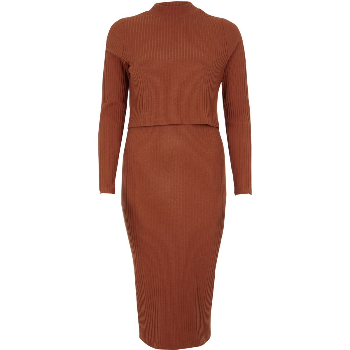 Orange rib double layer bodycon midi dress