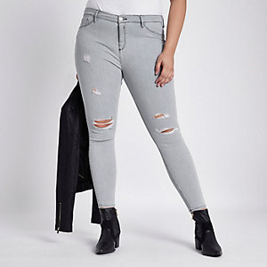 Plus – Molly – Graue Skinny Jeggings im Used-Look