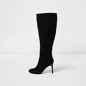 Zwarte over-de-knie-laarzen met stilettohak en brede pasvorm