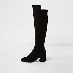 Black knee high suede block heel boots