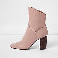 Nude leather block heel boots