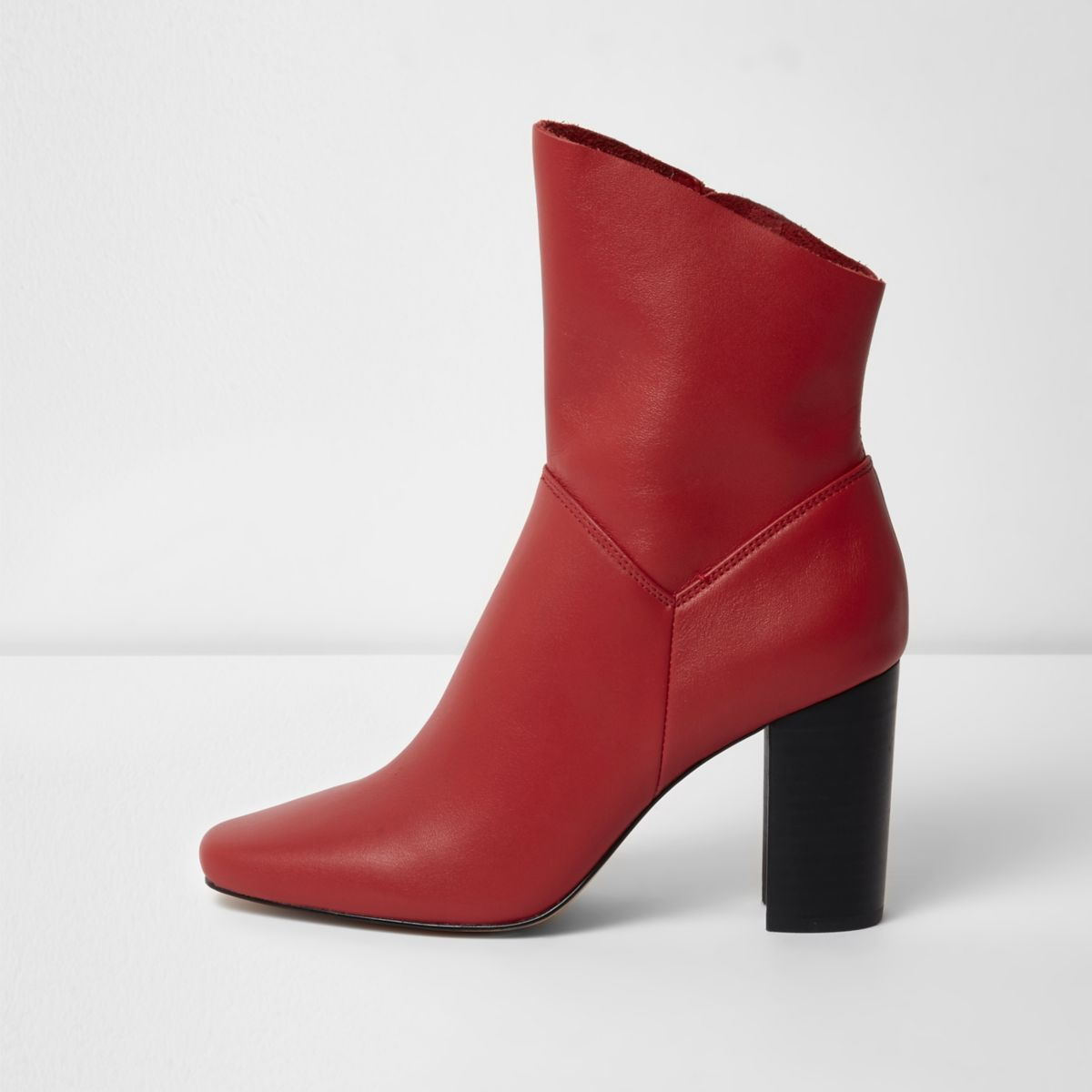 Red leather block heel boots