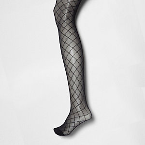 Collants noirs motif losanges