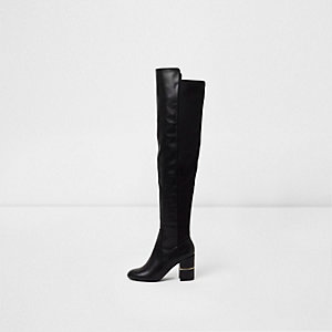 Womens Black knee high leather block heel boots River Island