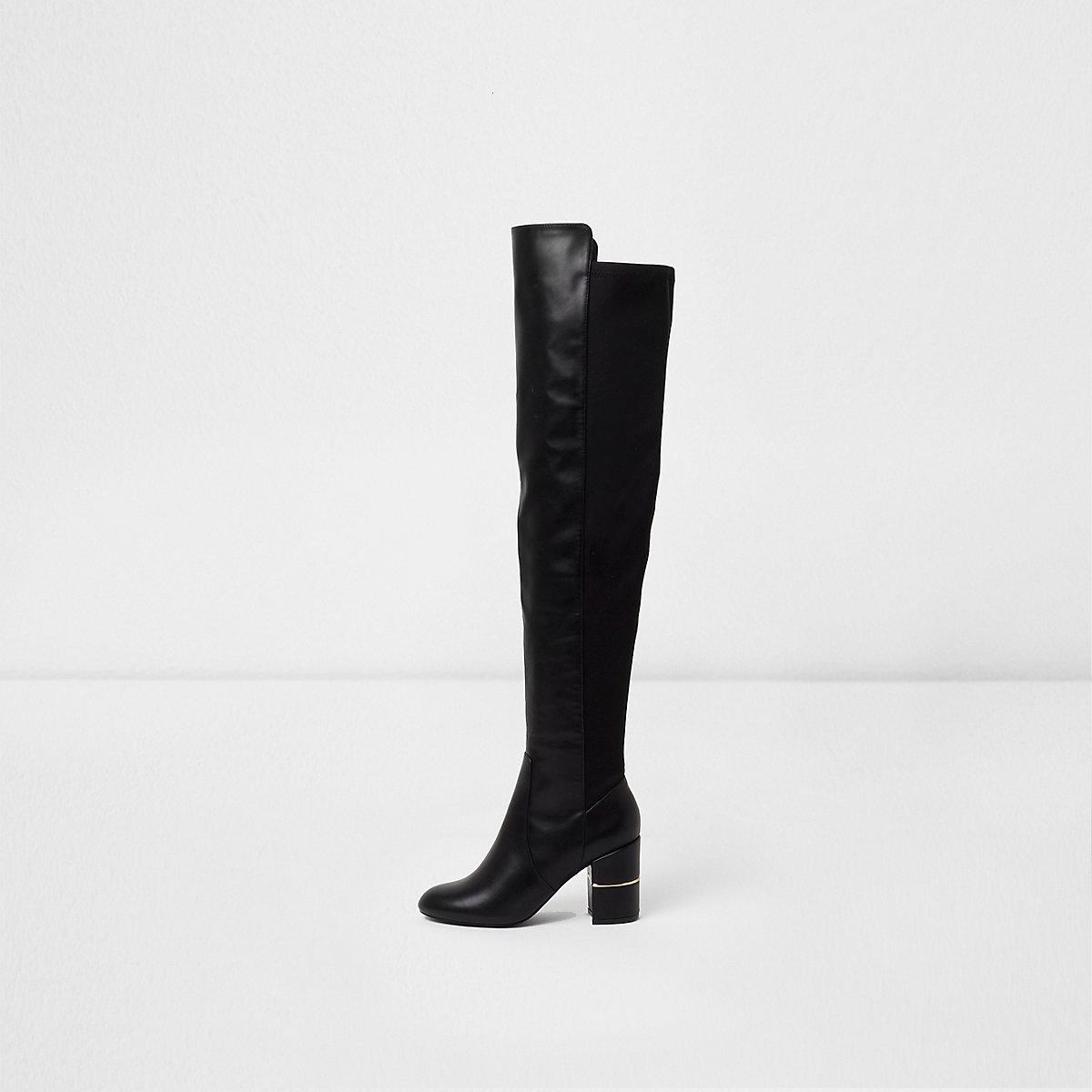 Zwarte over-de-knie-laarzen met blokhak