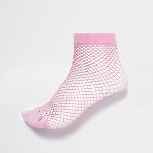 Pink wide fishnet socks