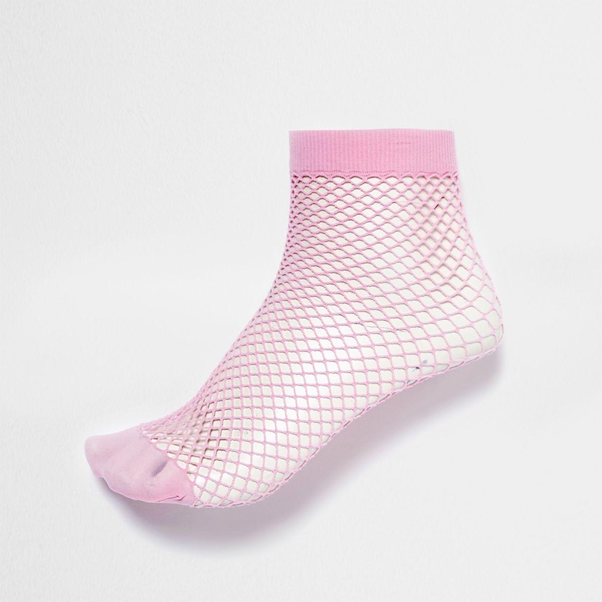Pink wide fishnet socks