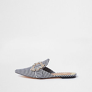 White stripe jewel buckle backless loafers