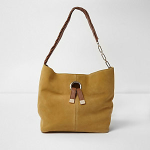 Yellow suede ring front underarm slouch bag