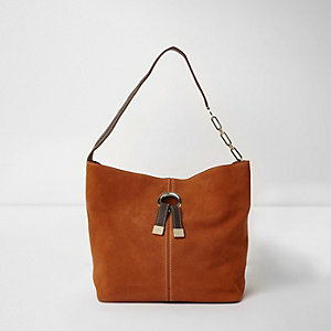 Beuteltasche in Orange aus Wildleder mit Ring