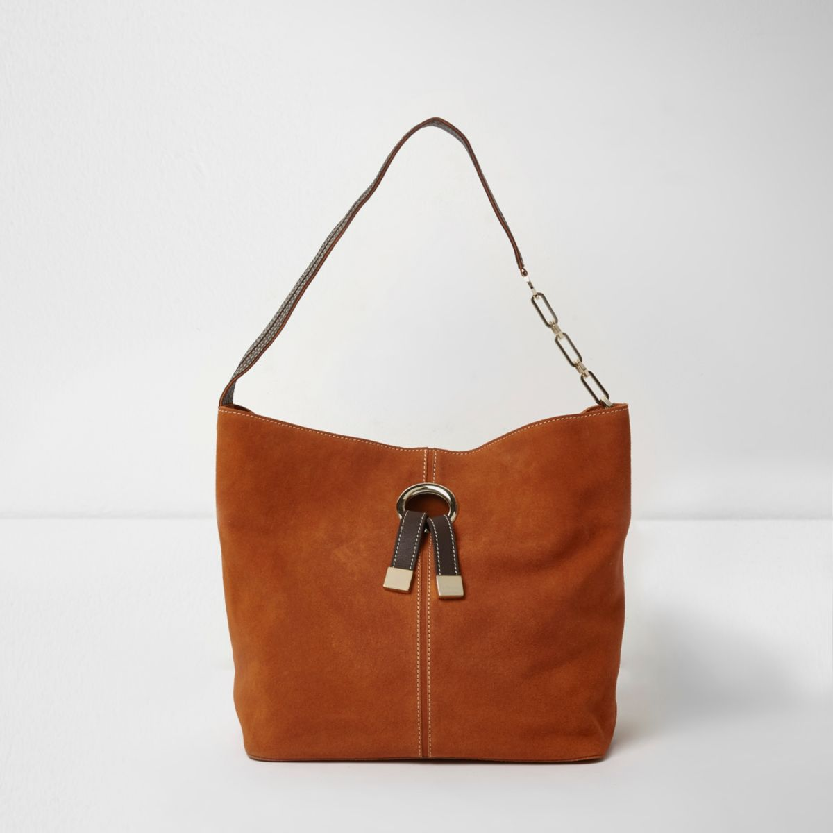 Orange suede ring front underarm slouch bag