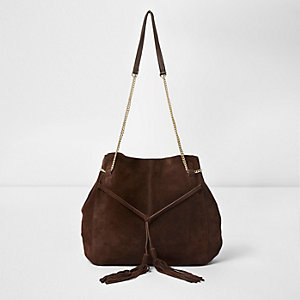 Brown suede tassel front slouch chain bag