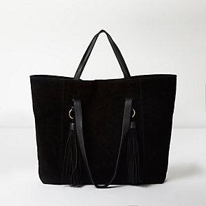 Cabas porté épaule en daim noir avec pampilles