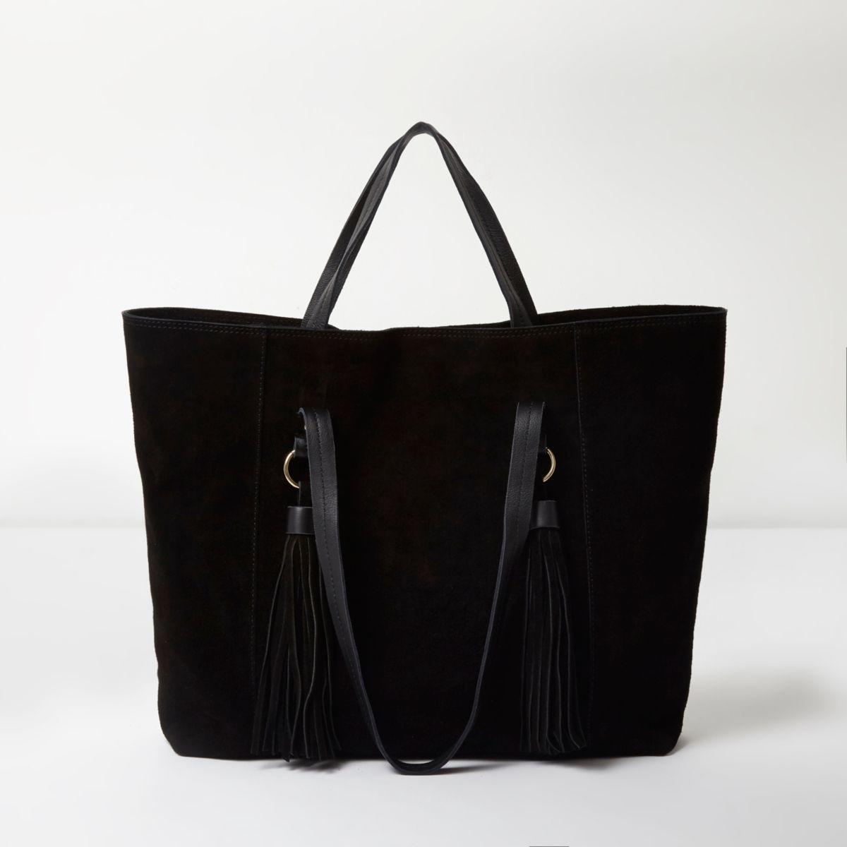 Schwarze Tote Bag aus Wildleder
