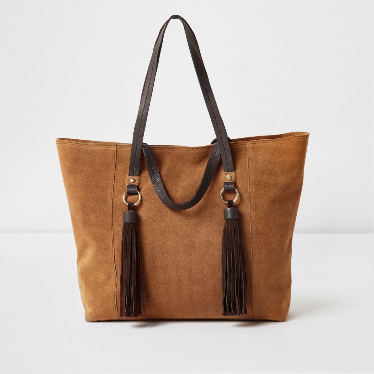 Tan suede tassel handle large tote bag