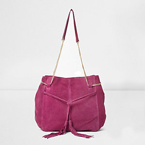 Pink suede tassel front slouch chain bag