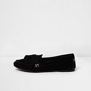 Black suede fringe moccasins