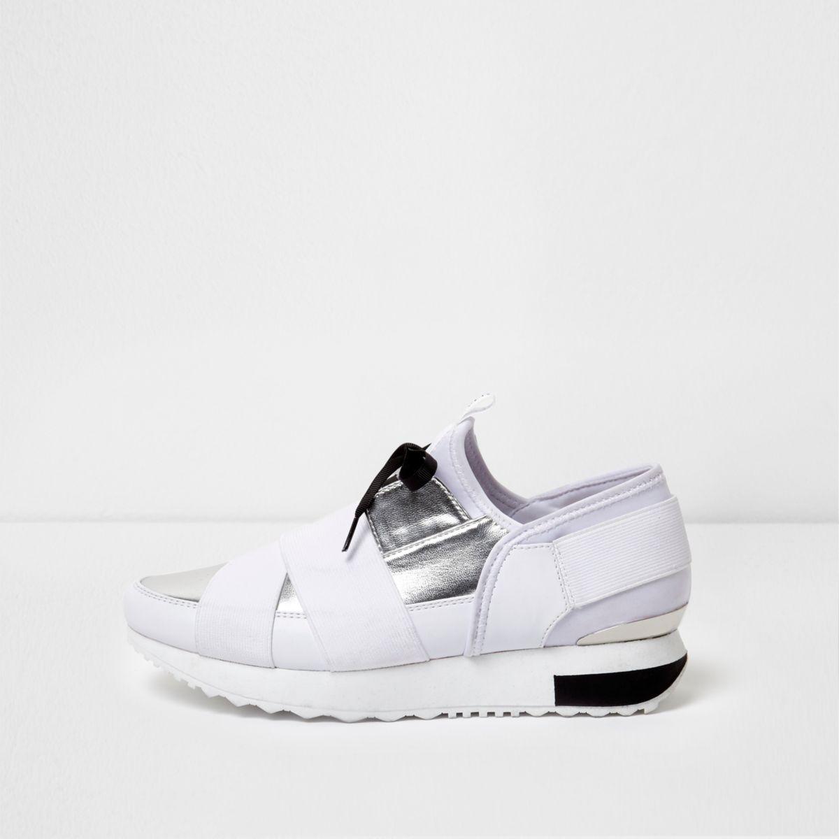 White metallic elasticated runner trainers