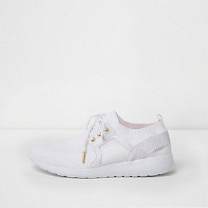 White mesh knit lace-up runner sneakers