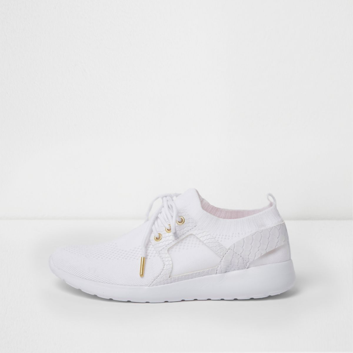 White mesh knit lace-up runner trainers