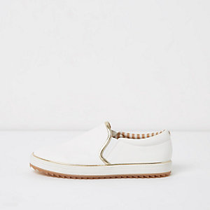 White chunky gold tone trim slip on plimsolls