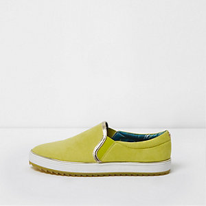 Yellow slip on chunky plimsolls