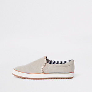 Grey rose gold tone trim slip on plimsolls
