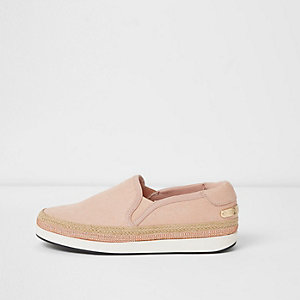 Tennis rose clair à bordure espadrille thermocollée