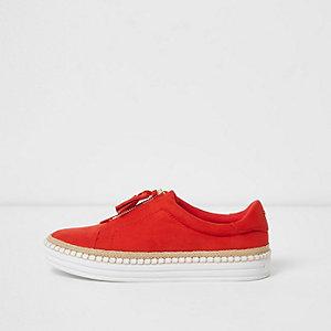 Red zip tassel espadrille plimsolls