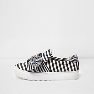 Navy stripe bow top canvas slip on plimsolls