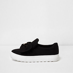Black bow top canvas slip on plimsolls