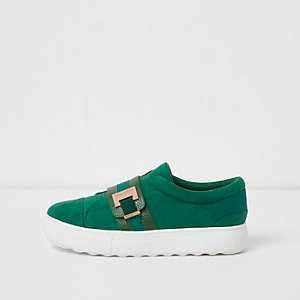 Green buckle detail slip on plimsolls