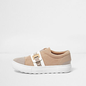 Brown croc strap buckle slip on plimsolls