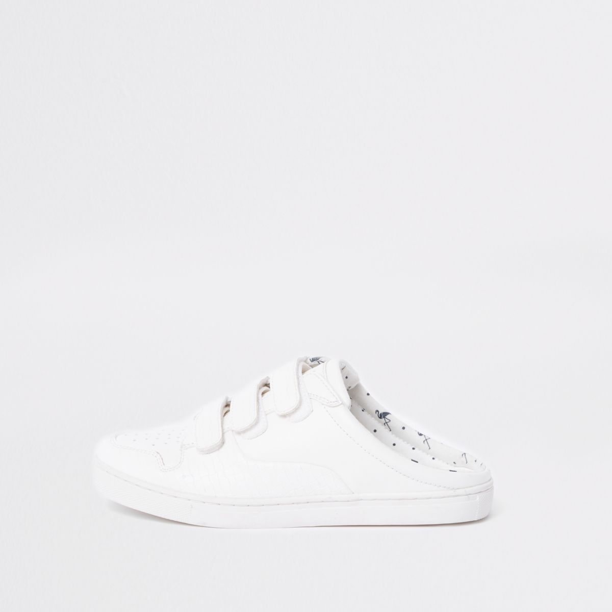 White backless velcro trainers