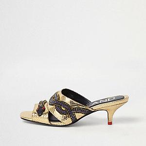 Gold snake embellished kitten heel mules