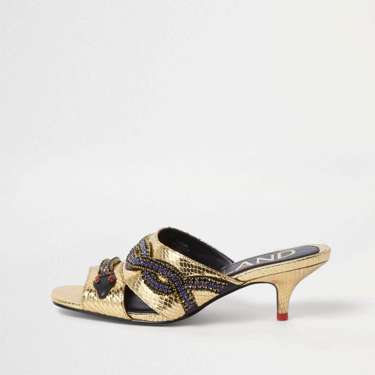 River Island Mules - white/gold