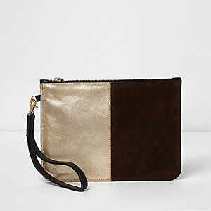 Gold metallic panel small pouch clutch bag