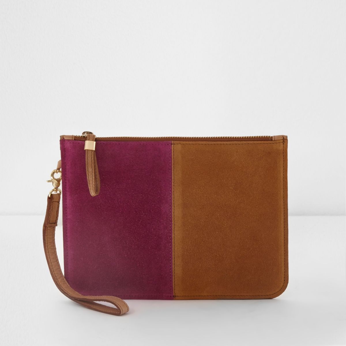 Pink and tan suede small pouch clutch bag